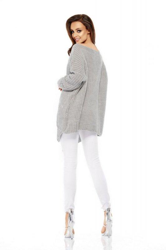 LS209 Luźny sweter oversize jasnoszary