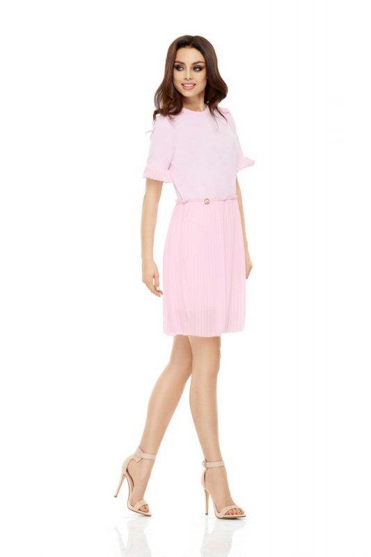 Zjawiskowa sukienka z plisowaniami L242 pudrowy róż