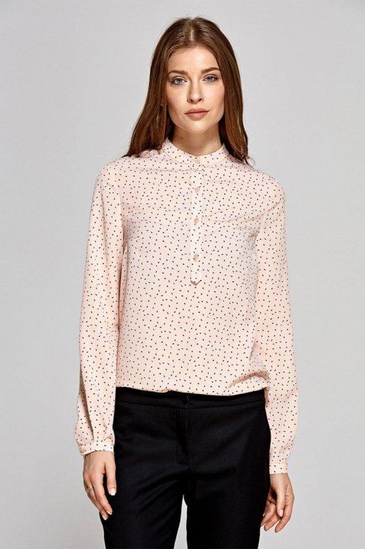 Bluzka z zapięciem polo - wzór/róż - CB07