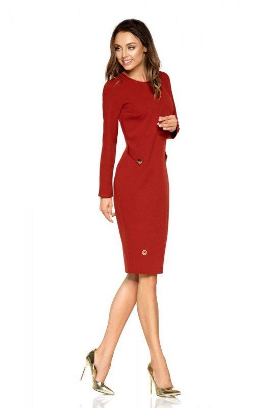 Elegancka sukienka biznesowa L274 bordo
