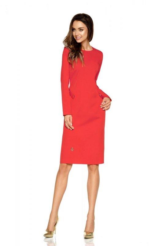 Elegancka sukienka biznesowa L274 czerwony