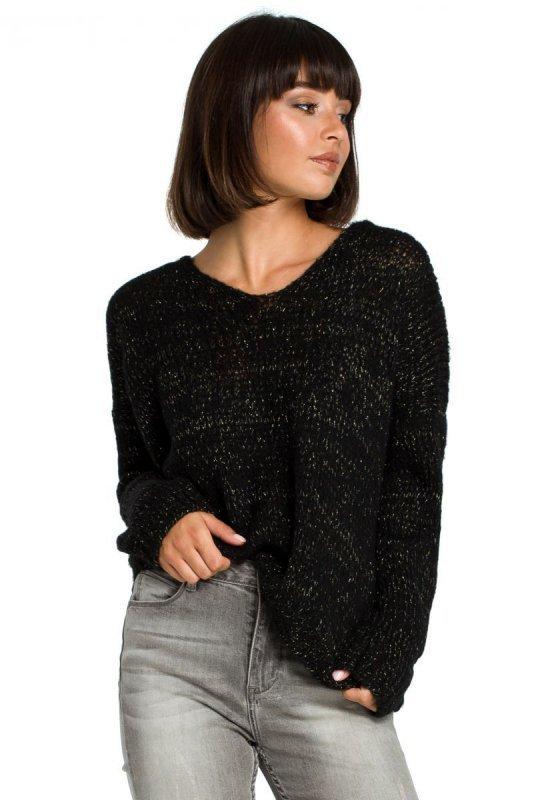 BK004 Sweter ze złotą nitką - czarny