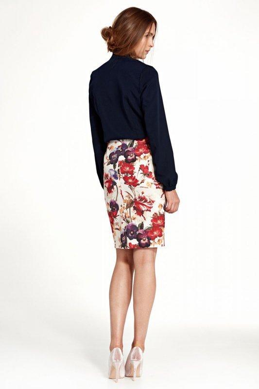Spódnica ołówkowa do kolan - kwiaty - SP39