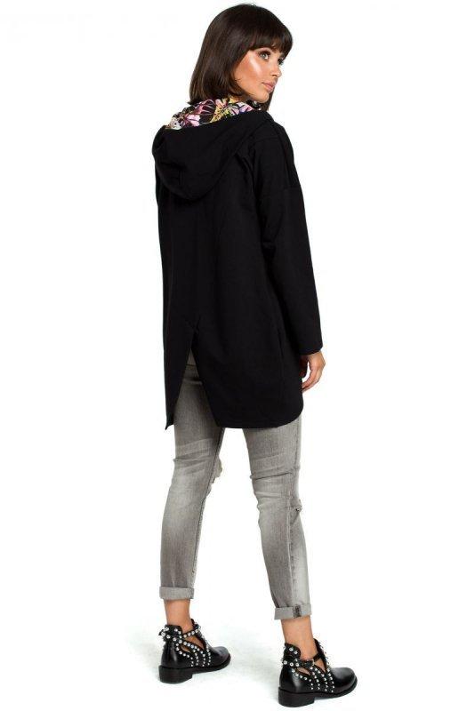 B091 Bluza z kapturem i zamkiem na skos - czarna