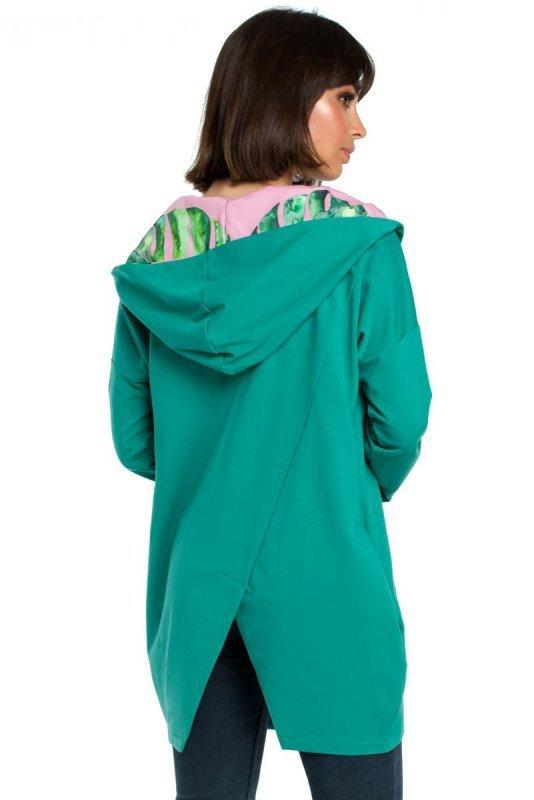 B091 Bluza z kapturem i zamkiem na skos - zielona
