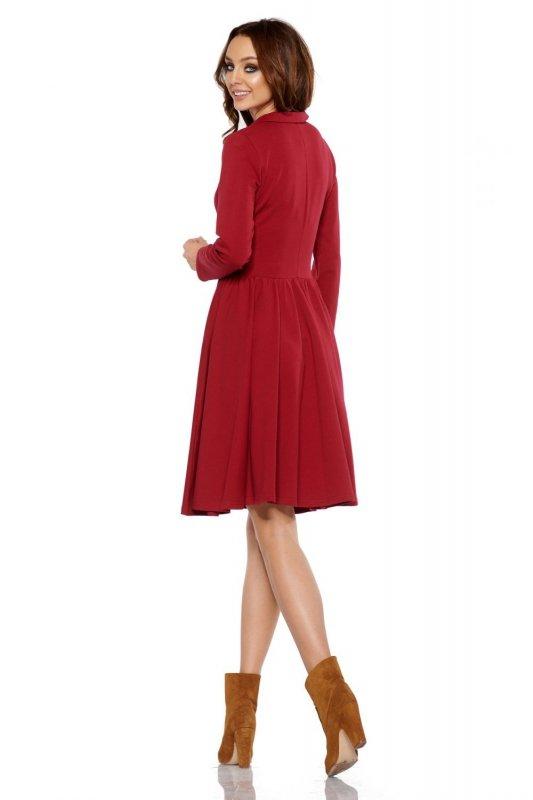 7efab91429 Sukienka z koła z dekoltem V L282 bordo - Sukienki - Moda Damska