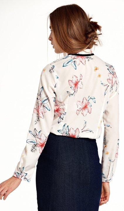 Bluzka ze stójką i tasiemką na szyi - kwiaty/ecru - B92