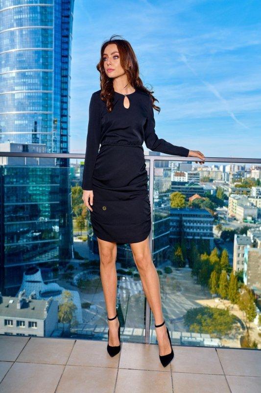 Kobieca sukienka z marszczeniami L285 czarny