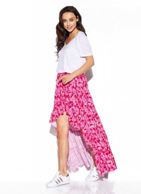 Asymetryczna spódnica z falbaną z jedwabiem LG544 druk 17