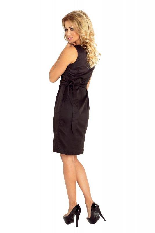 126-1 MEMORY - sukienka z wiązaniem - CZARNA