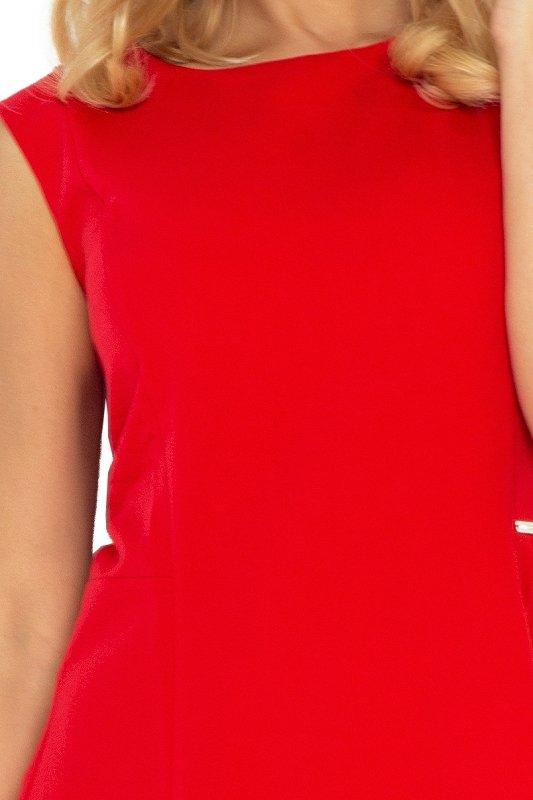 137-2 Sukienka TRAPEZ - CZERWONA