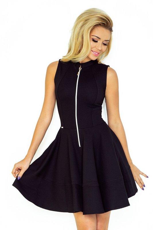 123-10 Sukienka z ekspresem z przodu i kieszonkami - GRUBA LACOSTA CZARNA