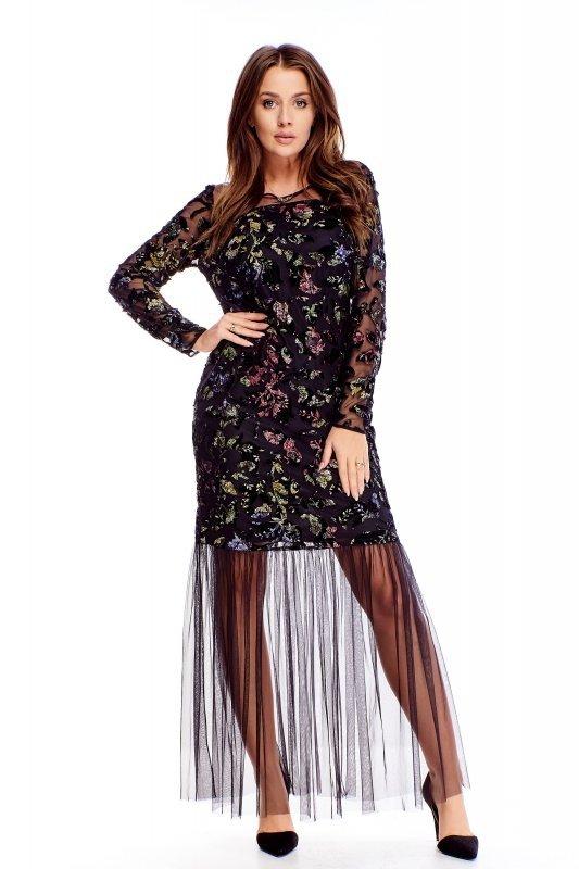 tiulowa sukienka maxi z kolorowymi naszywkami