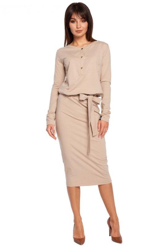 4dfff41bf5 B024 sukienka beżowa - Sukienki - Moda Damska