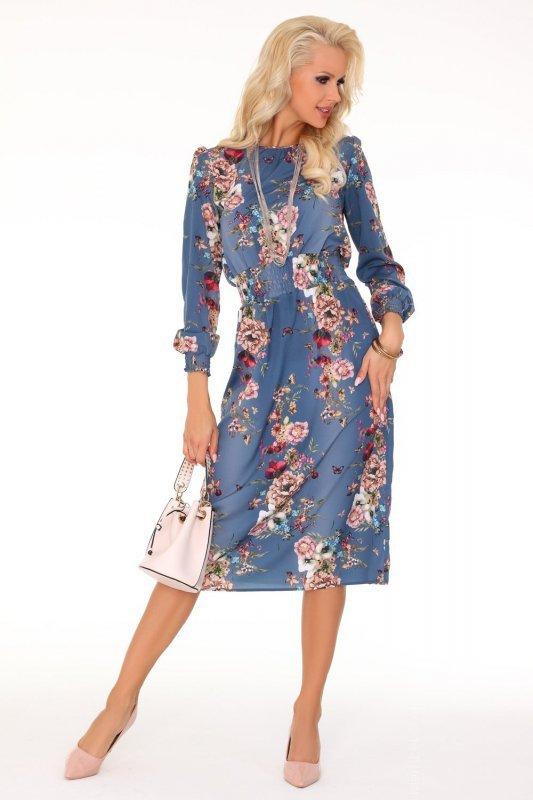 2d82a12c Sukienka w kwiatowy wzór z bufkami w ramionach i wstawką w pasie a'la guma