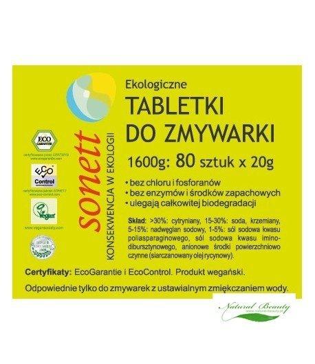 Sonett Ekologiczne tabletki do zmywarki 80 szt