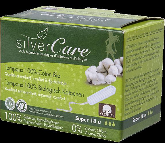 Masmi SILVER CARE tampony ze 100% bawełny organicznej SUPER bez aplikatora, 18 sztuk