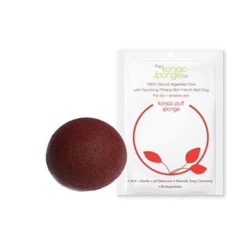 Gąbka Konjac z czerwoną glinką do cery suchej, dojrzałej i naczynkowej