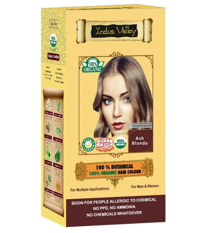 Indus Valley  Ekologiczna Ziołowa farba do włosów z henną Popielaty Blond 120 g