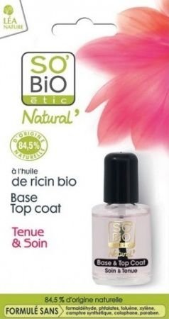SO BiO naturalna bezbarwna baza pod lakier i utwardzacz do paznokci 2w1 z bio-olejem rycynowym10 ml