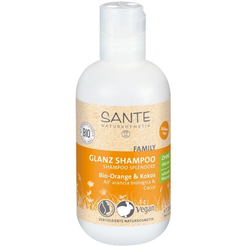 Sante Naturkosmetik FAMILY Szampon nadający połysk z bio-pomarańczą i kokosem 200 ml