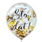 Balony przeźroczyste z konteffi złoty STO LAT!