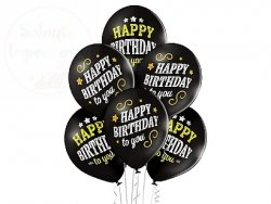 Balony HAPPY BIRTHDAY czrane  urodziny 12 cali