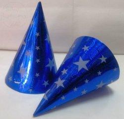 Czapeczki metalizowane niebieskie w gwiazdki  1szt