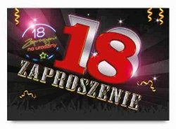 Zaproszenie  CZERWONA 18  -  1szt