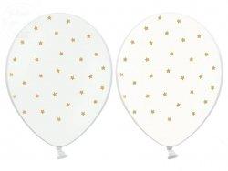 Balony białe lub przeroczyste w złote gwiazdki 1sz