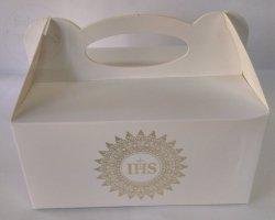 Pudełko komunijne na ciasto ZŁOTY IHS 1szt