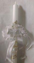 Stroik do świecy tiulowy z kwiatkiem i szyfonem