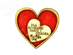 Serce z magnesem Dla Kochanej Babci i Dziadka