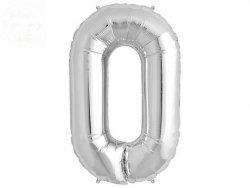 Balon foliowy 34 cale srebrny cyfra 0