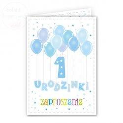Zaproszenie na 1 urodziny Balonki błękitne 1szt