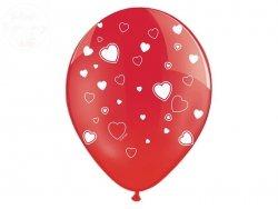 Balony 30cm Czerwone crystaliczne w białe serca