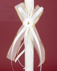 Kokarda do świecy białe + złoto  1szt