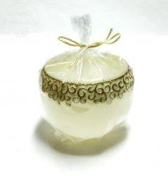 Świeca Christmas lampion kremowo- złoty 1 szt