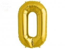 Balon foliowy złoty 34 cale Cyfra 0
