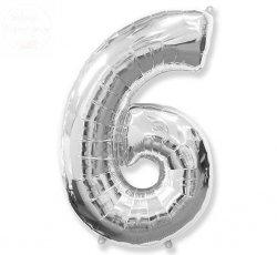 Balon foliowy srebrna Cyfra 6  85 cm