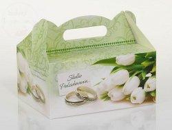 Pudełko na ciasto weselne z tulipanami CS08