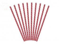 Słomki papierowe czerwone w kropeczki - 10 szt