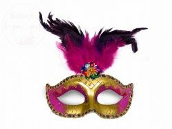 Maska na karnawałowa złoto-różowa z piórami 1szt