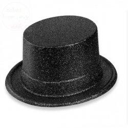Cylinder czarny z brokatem 12 cm
