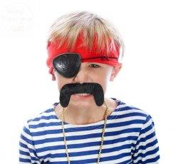 Wąsy czarne i oko pirata -dodatek do stroju