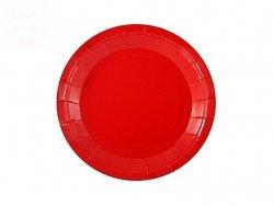 Talerzyki papierowe  Czerwone 18cm- 6szt