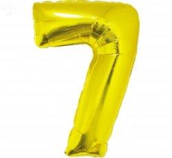 Balon foliowy złoty  Cyfra 7  85 cm