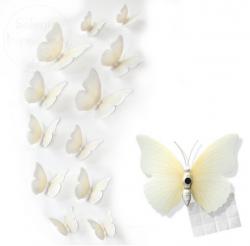 Motylki dekoracyjne 3D 12 szt białe