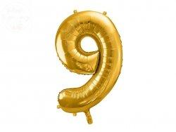 Balon foliowy cyfra 9 złota  86 cm