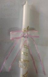 Kokarda szyfonowa do świecy różowy 1szt